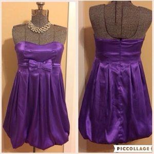 PURPLE BABYDOLL FAUX SATIN/SILK DRESS